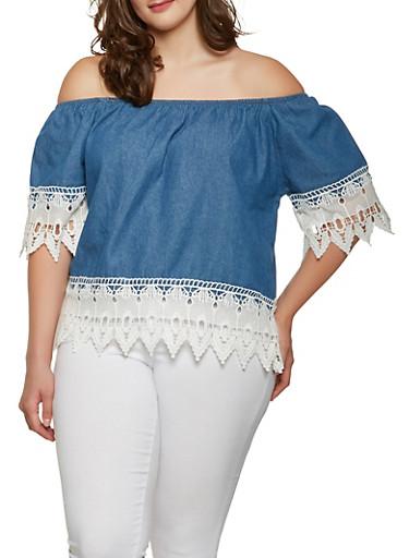 Plus Size Off the Shoulder Denim Top,WHITE,large