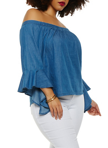 Plus Size Chambray Off the Shoulder Top,INDIGO,large