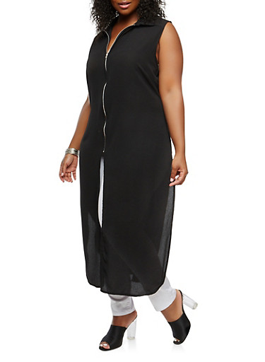 Plus Size Zip Front Maxi Top,BLACK,large