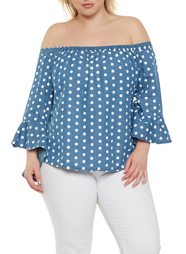 Plus Size Off the Shoulder Chambray Top,BLUE,large