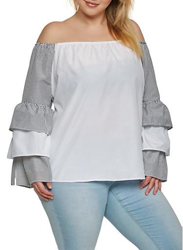Plus Size Off the Shoulder Striped Sleeve Top,BLACK,large
