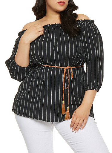 Plus Size Striped Off the Shoulder Tunic Top,BLACK/WHITE,large