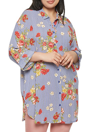 Plus Size Striped Floral Tunic Top,BLUE,large