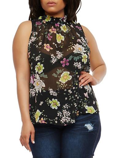 Plus Size Floral Smocked Neck Top,BLACK,large