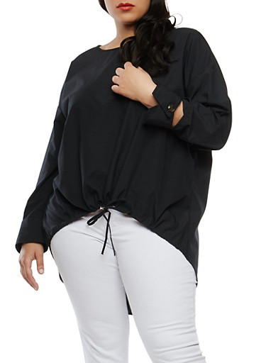 Plus Size Solid Poplin High Low Tunic Top,BLACK,large