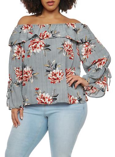 Plus Size Striped Floral Off the Shoulder Top,BLACK,large