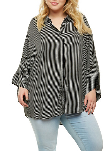 Plus Size Striped Button Front Tunic Top | Tuggl