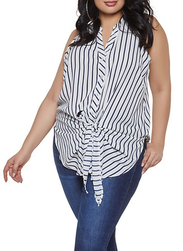 Plus Size Striped Button Front Top,WHITE,large