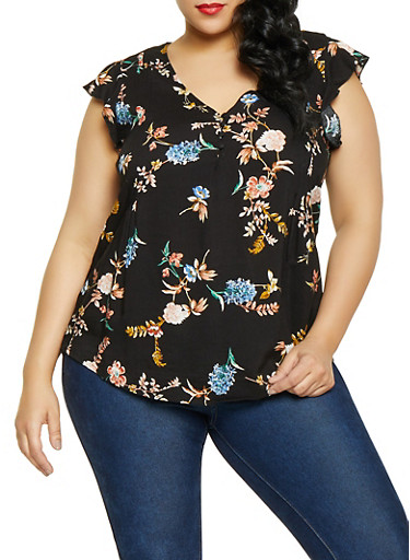 Plus Size Flutter Sleeve Floral Top,BLACK,large