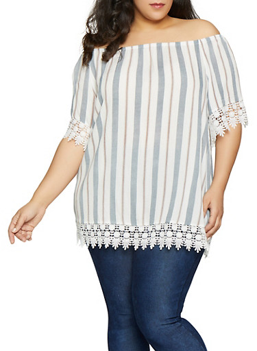 Plus Size Striped Off the Shoulder Top   1803051060552,IVORY,large