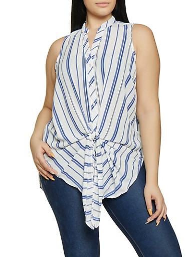 Plus Size Striped Mandarin Collar Shirt,WHITE,large