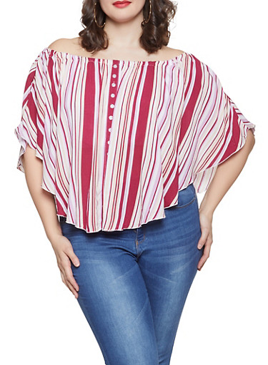 Plus Size Striped Off the Shoulder Ruffled Top,RED,large