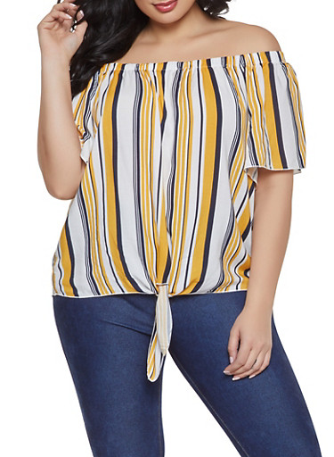 Plus Size Striped Tie Front Off the Shoulder Top,NAVY,large