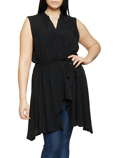 Plus Size Linen High Low Top,BLACK,large