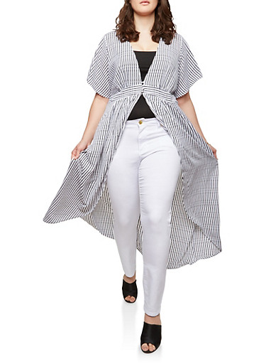 Plus Size Striped Flutter Sleeve Duster,WHITE,large