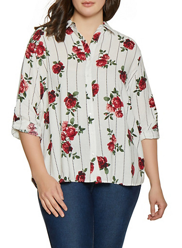 Plus Size Rose Button Front Shirt,RED,large