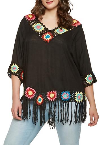Plus Size Crochet Fringe Trim Top,BLACK,large