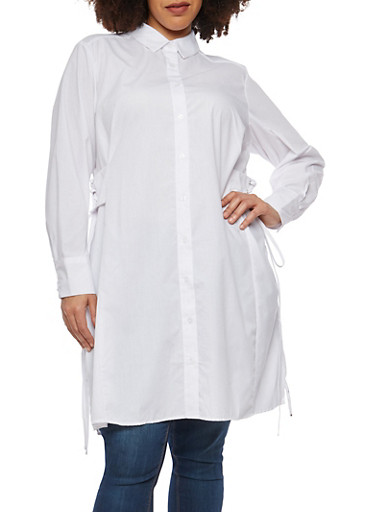 Plus Size Striped Tunic With Lace Up Details,WHITE,large