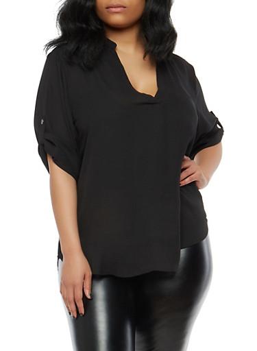 Plus Size Tabbed Sleeve Blouse,BLACK,large