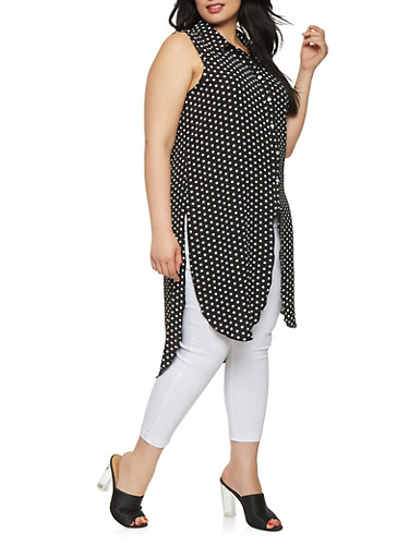 Plus Size Polka Dot High Low Tunic Shirt,BLACK/WHITE,large