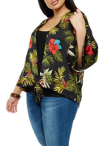 Plus Size Tropical Print Tie Front Kimono,BLACK,large
