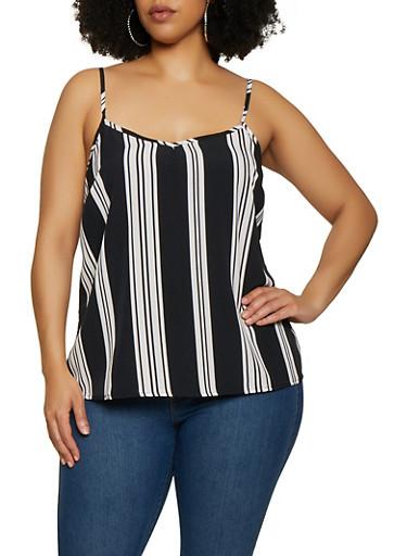 Plus Size Vertical Stripe Cami,BLACK/WHITE,large