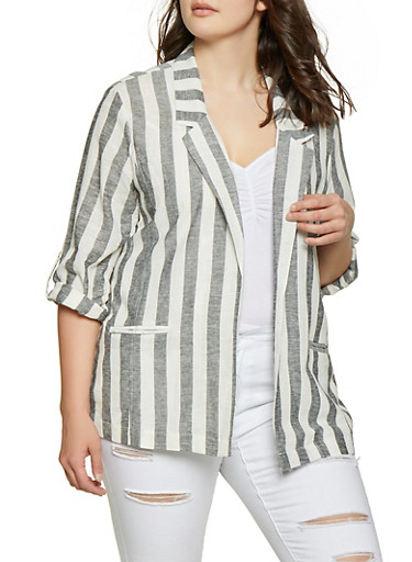 Plus Size Tabbed Sleeve Striped Linen Blazer,BLACK,large
