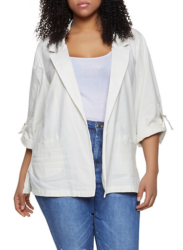 Plus Size Linen Tabbed Sleeve Blazer,WHITE,large