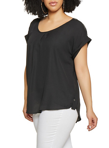 Plus Size Zip Shoulder Blouse,BLACK,large