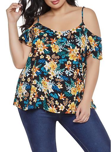 Plus Size Flutter Sleeve Printed Off the Shoulder Top,BLACK,large