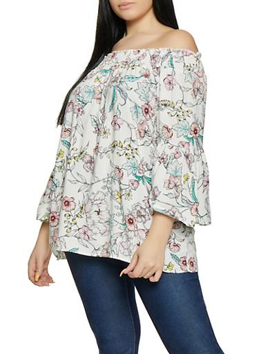 Plus Size Floral Off the Shoulder Smocked Top,IVORY,large