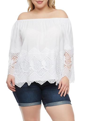 Plus Size Crochet Trim Off the Shoulder Top,WHITE,large