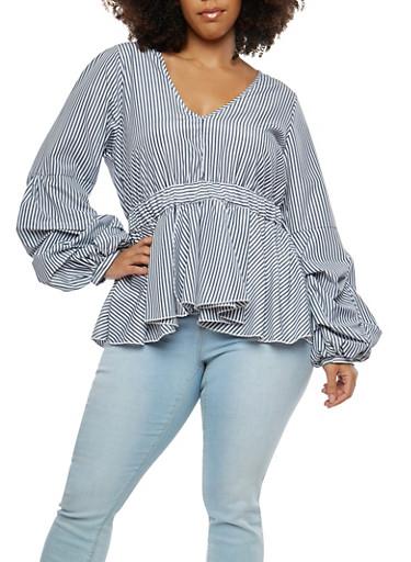 Plus Size Striped Long Sleeve Ruffle Hem Top,NAVY,large