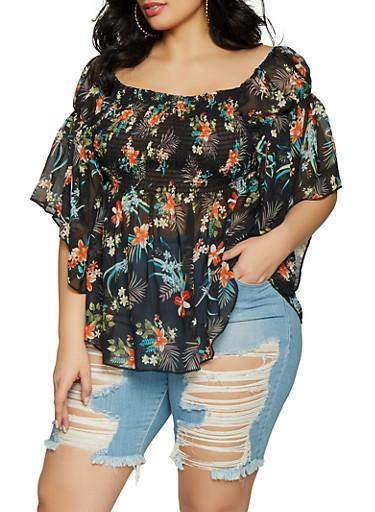 Plus Size Off the Shoulder Smocked Floral Top,BLACK,large