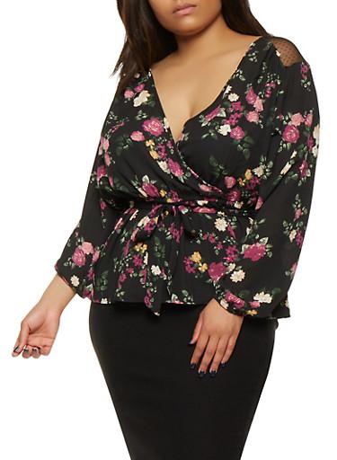 Plus Size Floral Faux Wrap Top,BLACK,large