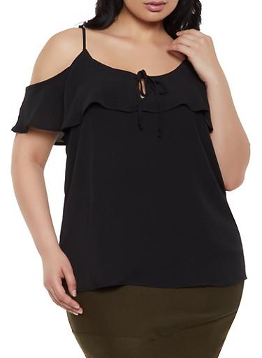 Plus Size Tie Keyhole Cold Shoulder Top,BLACK,large
