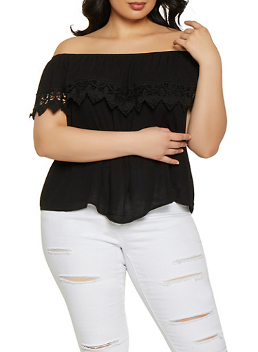 Plus Size Ruffle Crochet Trim Off the Shoulder Top,BLACK,large