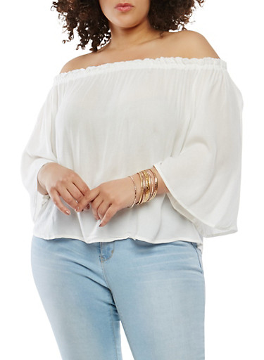 Plus Size Off the Shoulder Top,IVORY,large