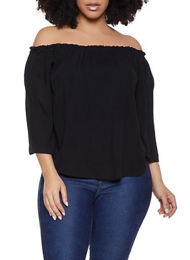 Plus Size Solid Off the Shoulder Top,BLACK,large