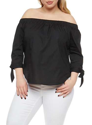 Plus Size Tie Sleeve Off the Shoulder Top,BLACK,large