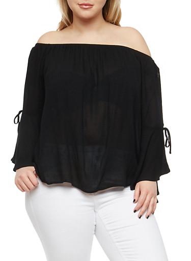 Plus Size Off the Shoulder Peasant Top,BLACK,large