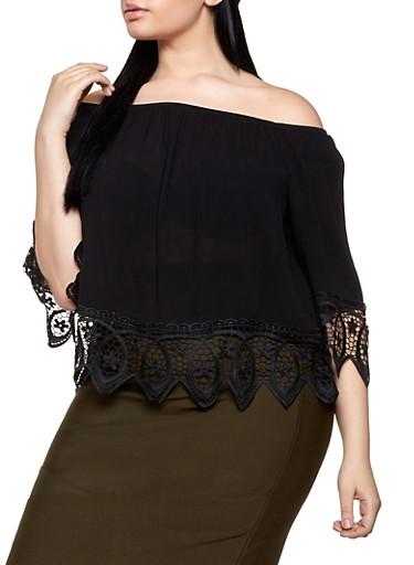 Plus Size Off the Shoulder Crochet Trim Top | 1803054269866,BLACK,large