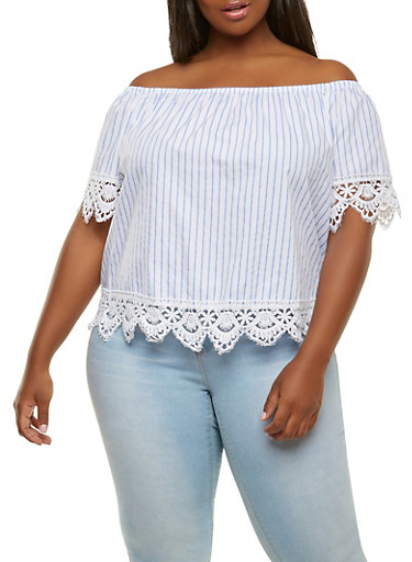 Plus Size Striped Off the Shoulder Top,WHITE,large