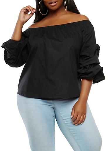 Plus Size Bubble Sleeve Off the Shoulder Top - 1803054269943