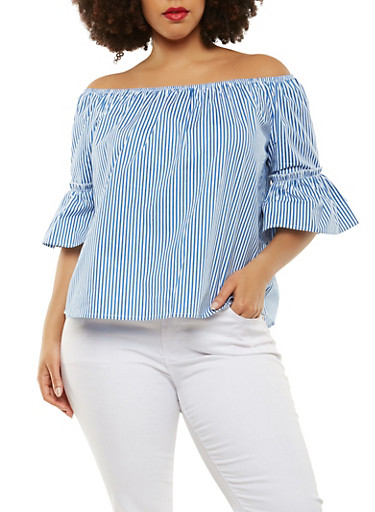 Plus Size Striped Off the Shoulder Top,WHITE/BLUE,large