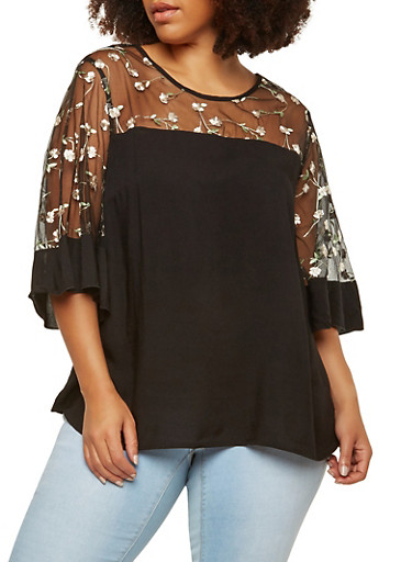 Plus Size Embroidered Mesh Trim Top,BLACK,large