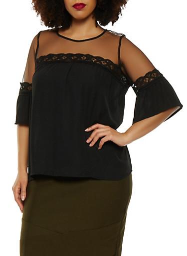 Plus Size Crochet Trim Mesh Yoke Top,BLACK,large