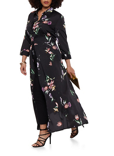 Plus Size Floral Satin Maxi Top,BLACK,large