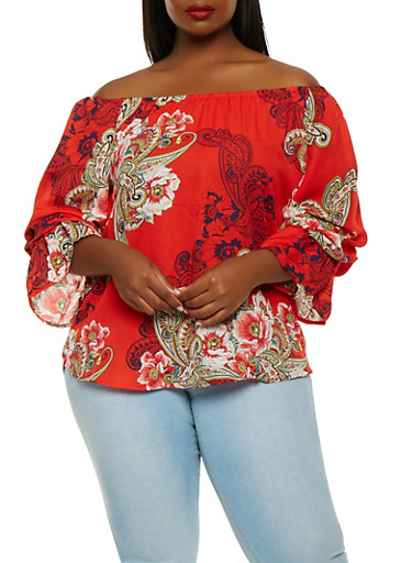 Plus Size Paisley Off the Shoulder Top,RED,large