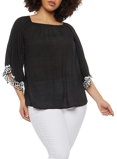 Plus Size Crochet Trim Peasant Top,BLACK,large